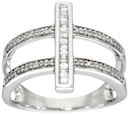 Round and Baguette Bar Ring, Sterling, 1/4 cttw, by Affinity