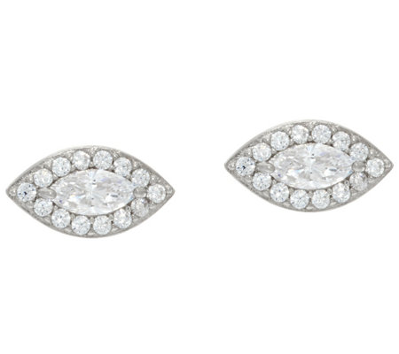 Diamonique Marquise Cut Halo Stud Earrings, Sterling
