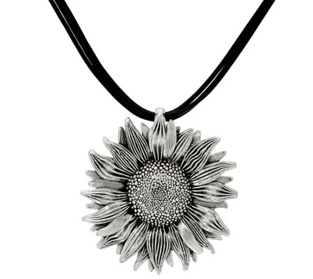 Sterling Silver Sunflower Multi-Cord Necklace by Or Paz