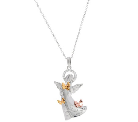 Hallmark Sterling Tri-Color Crystal Angel Pendant w/Chain