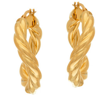 """As Is"" Vicenza Gold 1"" Twisted Round Tube Hoop Earrings, 14K - J333522"