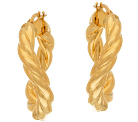 """As Is"" Vicenza Gold 1"" Twisted Round Tube Hoop Earrings, 14K"