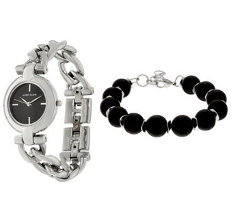 Anne Klein Silvertone Watch and Black Bead Bracelet Set - J333722