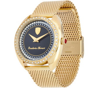 Ferrari Women's Crystal Bezel & Metal Mesh Donna Watch - J334322