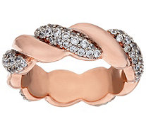 """As Is"" Bronze Crystal Polished & Twisted Ring by Bronzo Italia - J335522"