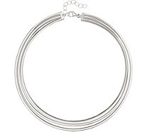"Italian Silver 18"" Multi-Row Omega Necklace, Sterling 39.5g - J345922"