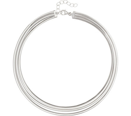 "Italian Silver 18"" Multi-Row Omega Necklace, Sterling 39.5g"