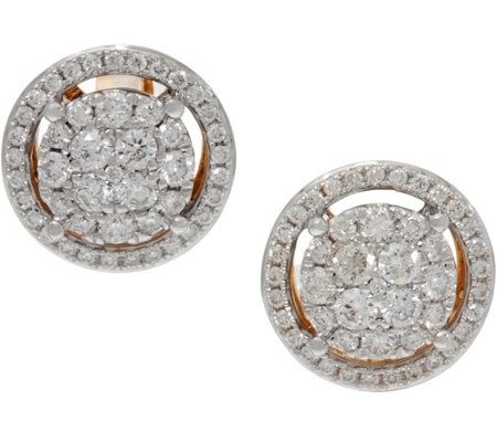 Cluster Diamond Round Stud Earrings, 14K, 6/10 cttw, by Affinity