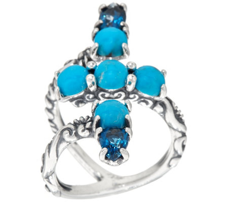Carolyn Pollack Sterling Silver Turquoise & Blue Topaz Wrap Ring
