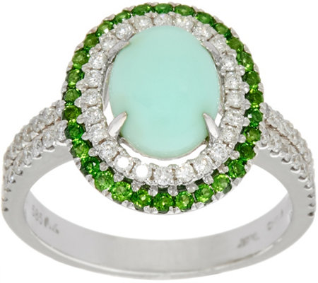 Green Opal & Chrome Diopside 4/10 cttw Diamond Ring, 14K Gold