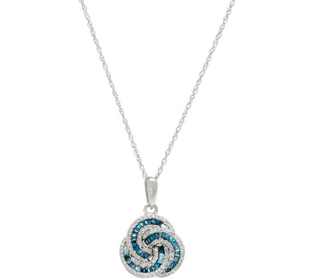 Baguette & Round Diamond Love Knot Pendant, Sterl, by Affinity