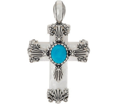 American West Mother of Pearl & Turquoise Sterling Silver Cross Enhancer