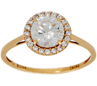 diamonique round halo ring 14k gold j353522 - Qvc Wedding Rings