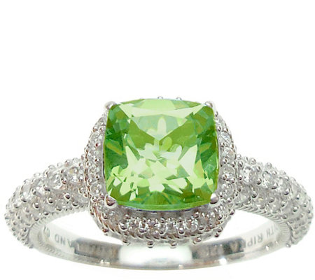 Judith Ripka Sterling and Peridot with Diamonique Ring