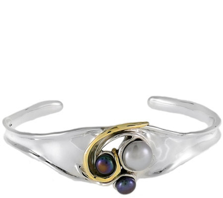 Hagit Sterling & 14K Clad Average Cuff with Cultured Pearls
