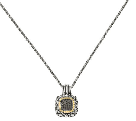 Black Diamond Pendant, Sterling & 14K, 1/5 cttw, by Affinity