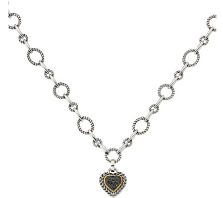 Black Diamond Necklace, Sterling & 14K,  1/4 cttw, by Affinity