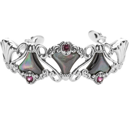 Carolyn Pollack Mother-of-Pearl & Rhodolite Trumpet Vine Cuff