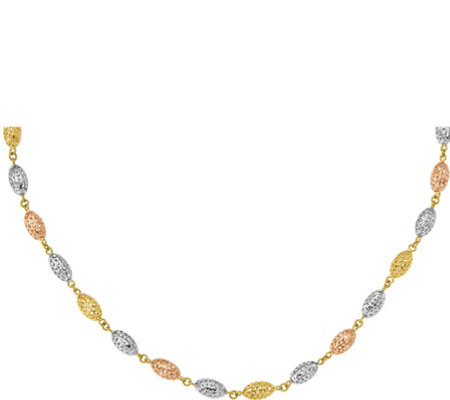 14K Tri-color Oval Bead Necklace, 8.2g