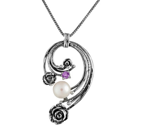 Or Paz Sterling Cultured Pearl Pendant w/ Chain