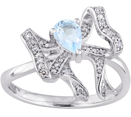 Laura Ashley Sterling 0.45 ct Blue Topaz & Diamond Accent Rin