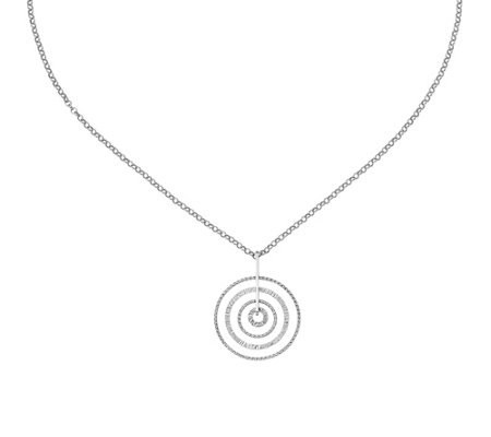 Italian Silver Diamond Circles Pendant with Chain, Sterling
