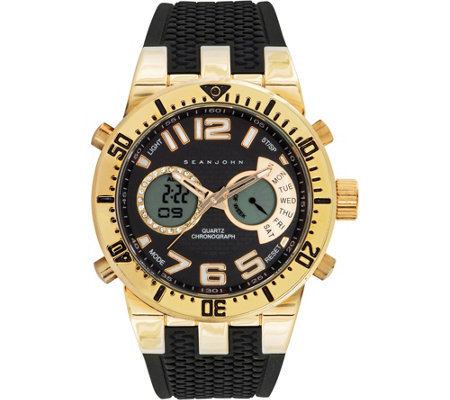 Sean John Men's Analog Digital Goldtone Multi-Function Watch