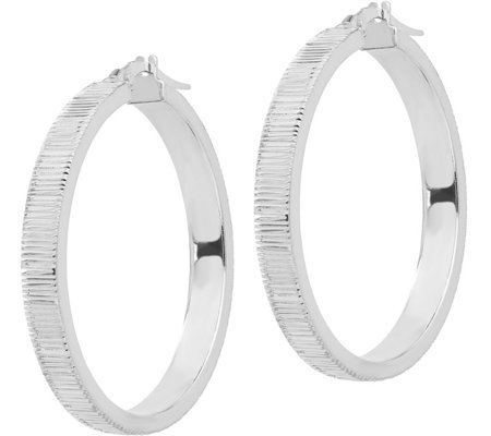"Italian Gold Ribbed 1-3/8"" Hoop Earrings 14K"