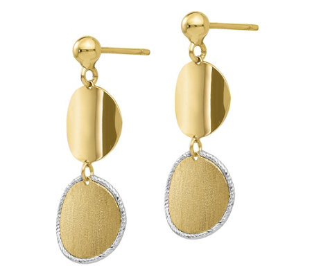Italian Gold Two-Tone Satin Double Circle Earrings, 14K