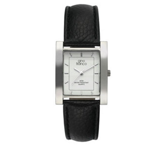Gino Franco Men's Square Strap Watch - Black Lizard Strap - J105723