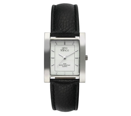 Gino Franco Men's Square Strap Watch - Black Lizard Strap