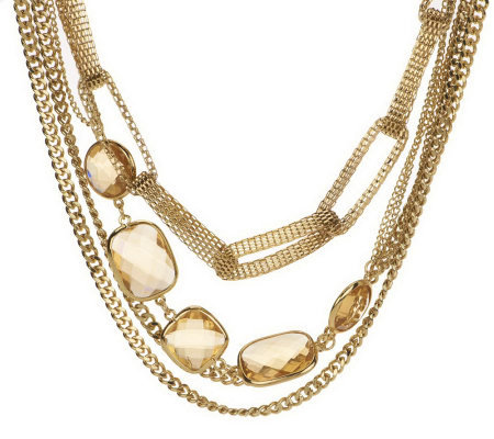 Wendy Williams Layered Multi Chain & Crystal Necklace