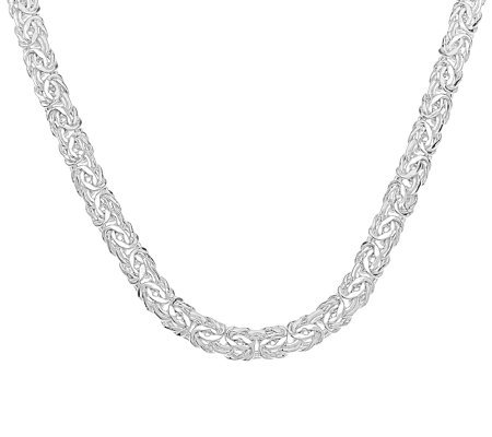 "Sterling 20"" Bold Polished Byzantine Necklace, 22.8g"
