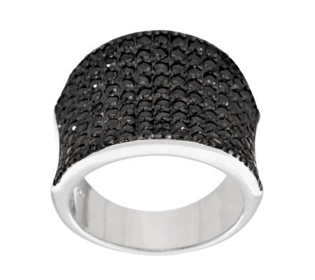 Diamonique Sterling Black Pave' Saddle Ring