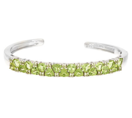 7.70 ct tw Peridot Trillion & Round Sterling Cuff Bracelet