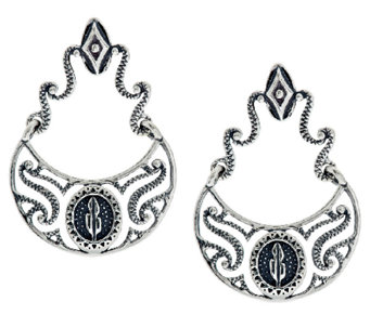 Kenneth Johnson Sterling Shield Design Dangle Earrings - J291423