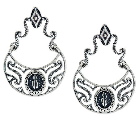 Kenneth Johnson Sterling Shield Design Dangle Earrings