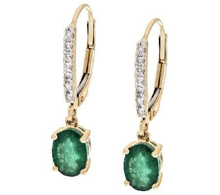 1.50 ct tw Brazilian Emerald & Diamond Drop Earrings, 14K