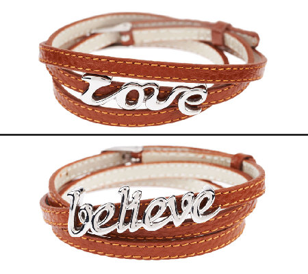 Stainless Steel Triple Wrap 'Love' or 'Believe' LeatherBracelet