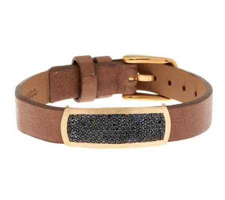 """As Is"" VicenzaGold Black Spinel Leather Bracelet, 14K"