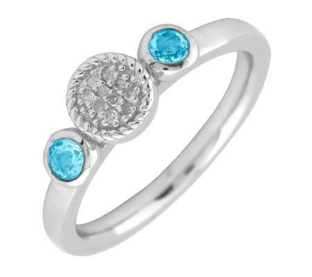 Simply Stacks Sterling & Double Round Blue Topaz Diamond Ring