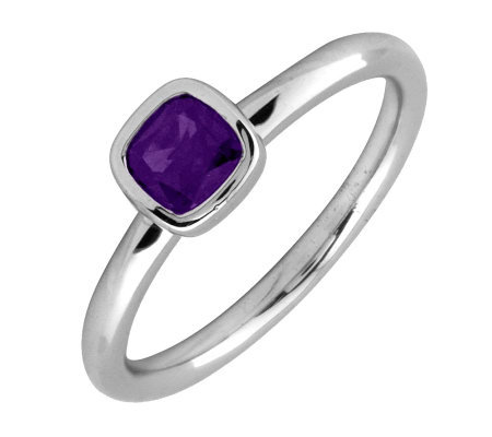 Simply Stacks Sterling Cushion Cut AmethystRing