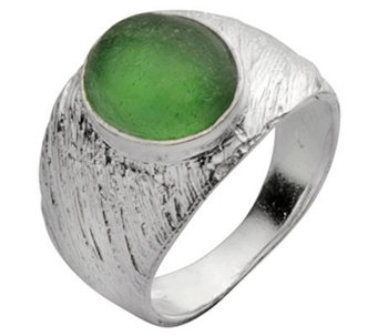 Or Paz Sterling Roman Glass Textured Ring - J302123