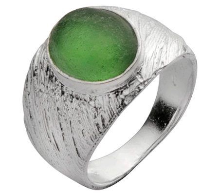 Or Paz Sterling Roman Glass Textured Ring