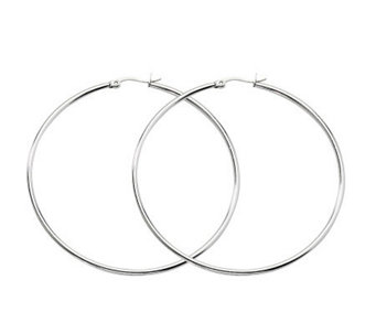 "Stainless Steel Polished 2-3/4"" Hoop Earrings - J302223"