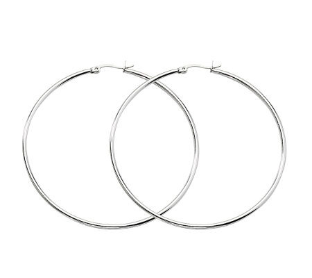"Stainless Steel Polished 2-3/4"" Hoop Earrings"