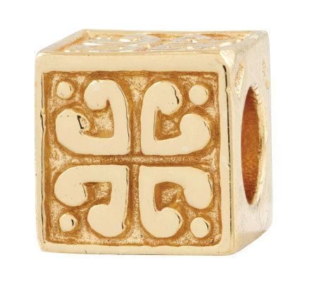 Prerogatives 14K Yellow Gold-Plated Sterling Heart Cube Bead