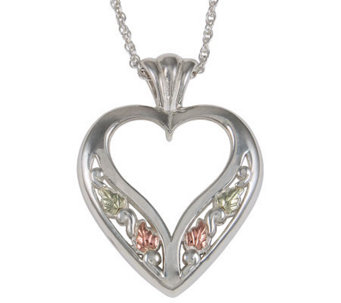 Black Hills Open Heart Pendant with Chain, Ster ling/12K Gold - J304023