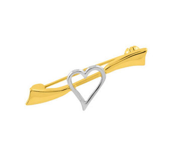 Two-tone Solid Heart Pin, 14K Gold - J305023