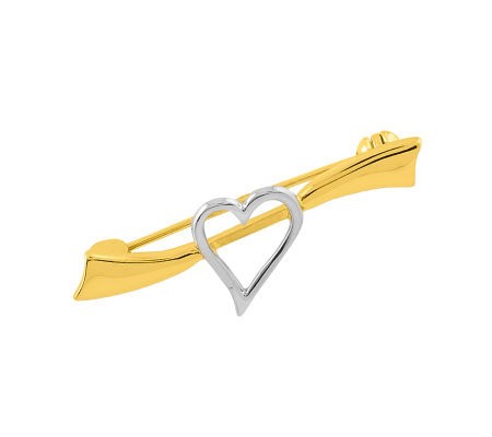 Two-tone Solid Heart Pin, 14K Gold